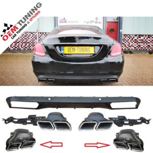 Mercedes-Benz | C-Class | W205 C63 AMG Look Diffuser | 2014-2018 | BLACK DIFFUSER STRIP-0
