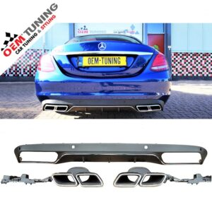 MERCEDES-BENZ | C-CLASS | W205 C63 AMG LOOK DIFFUSER | 2014-2018 | CHROME DIFFUSER STRIP |-0
