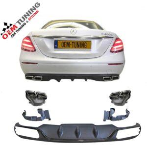 W213 E63 AMG Diffuser voor standard bumper | black edition |-0